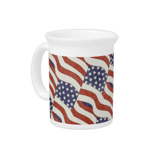 American Flag Pattern Pitcher