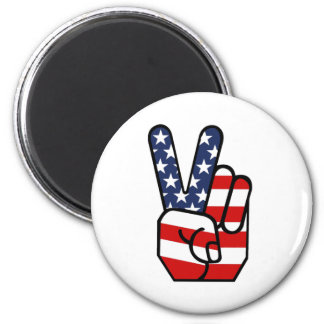 American Flag Peace Hand 2 Inch Round Magnet