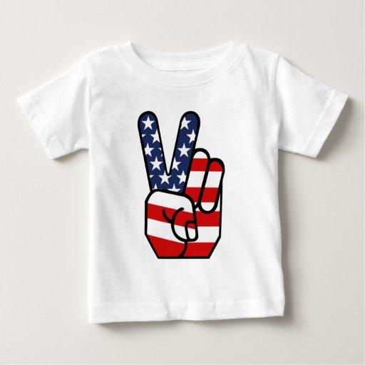 American Flag Peace Hand Baby T-Shirt