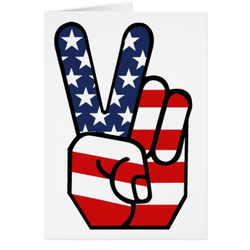 American Flag Peace Hand Cards