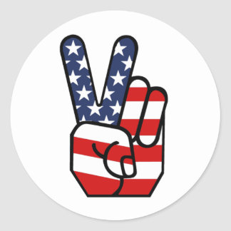 American Flag Peace Hand Classic Round Sticker
