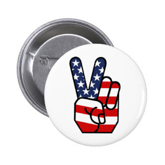 American Flag Peace Hand Pinback Button