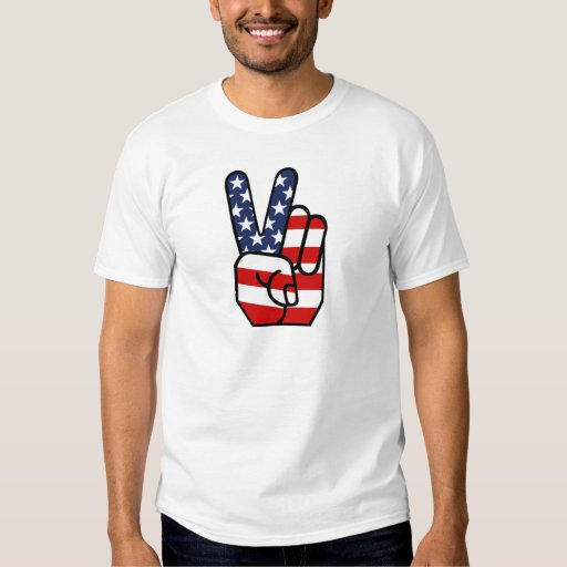 American Flag Peace Hand T-Shirt