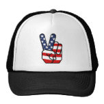 American Flag Peace Hand Trucker Hats