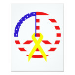 American Flag Peace & Ribbon Personalized Announcement