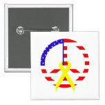 American Flag Peace & Ribbon Pinback Buttons