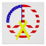 American Flag Peace & Ribbon Posters