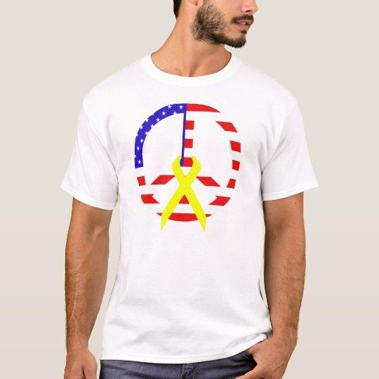 American Flag Peace & Ribbon T-Shirt
