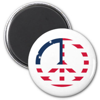 American Flag Peace Sign 2 Inch Round Magnet