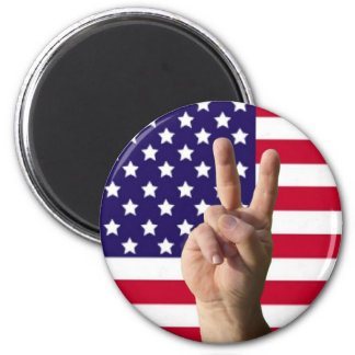 American Flag & Peace Sign 2 Inch Round Magnet
