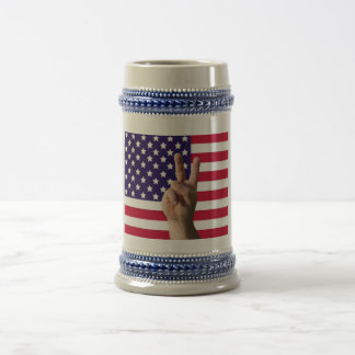 American Flag & Peace Sign Beer Stein