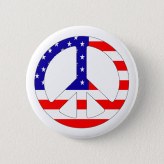 American Flag Peace Sign Button Pin Badge