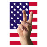 American Flag & Peace Sign Custom Stationery