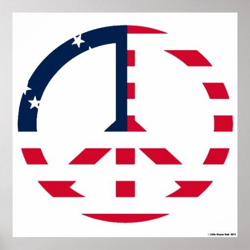 American Flag Peace Sign Huge Canvas Print