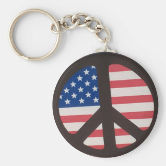 American Flag Peace Sign Keychain