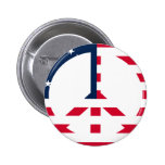 American Flag Peace Sign Pinback Button