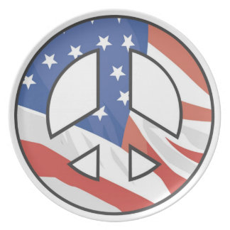 American Flag Peace Sign Plate