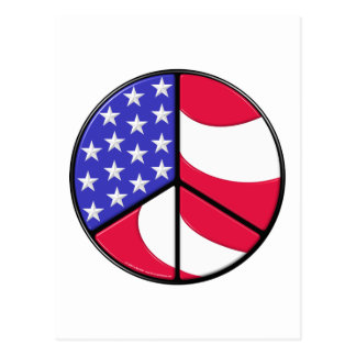 American Flag Peace Sign Postcard