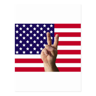 American Flag & Peace Sign Postcard