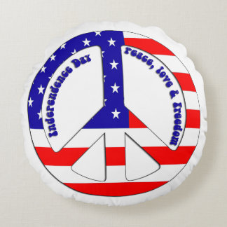 American Flag Peace Sign Round Throw Pillow
