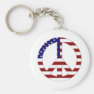 American Flag Peace sign USA Basic Round Button Keychain