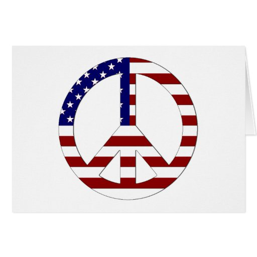 American Flag Peace sign USA Greeting Card