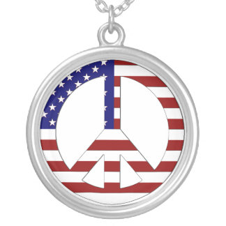 American Flag Peace sign USA Pendant