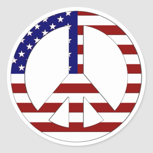 American Flag Peace sign USA Sticker