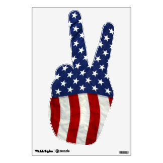 American Flag Peace Sign Wall Decal