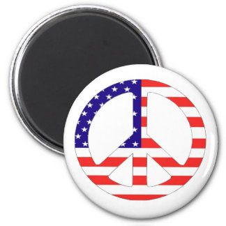 American Flag Peace Symbol 2 Inch Round Magnet