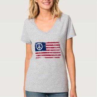 American Flag & Peace Symbol Distressed Design T-shirt