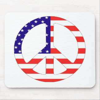 American Flag Peace Symbol Mouse Pad