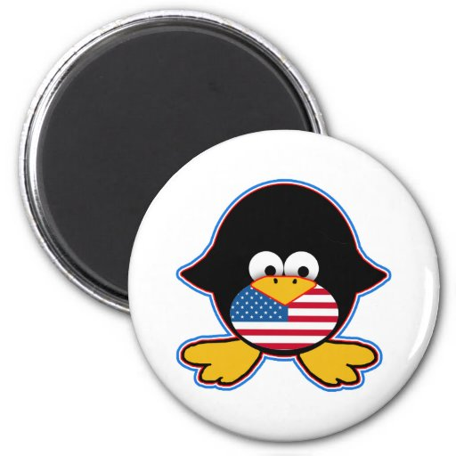American Flag Penguin Tshirts and Apparel 2 Inch Round Magnet