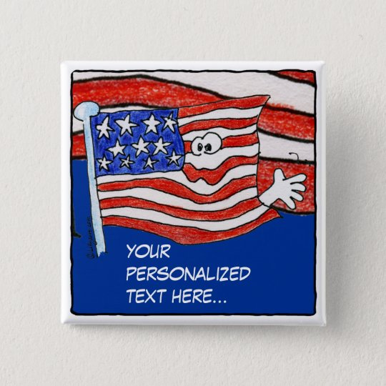American Flag Personalized Pin /Button
