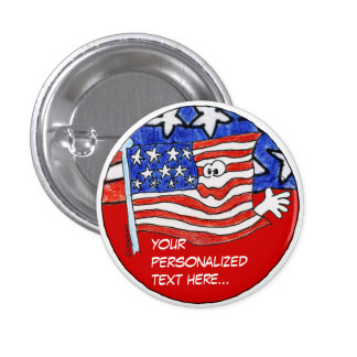 American Flag Personalized Pin /Round Button