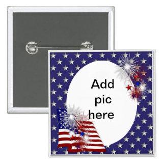 American Flag Photo Frame Button