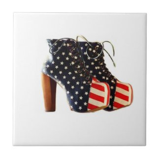 American Flag Platform Shoes Tile