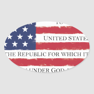 American flag Pledge Vintage Oval Sticker