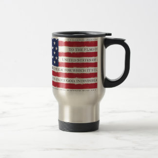 American flag Pledge Vintage Travel Mug