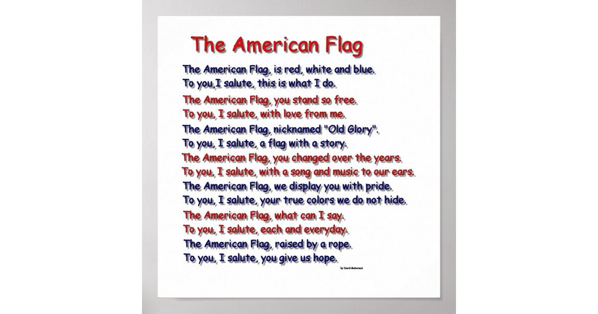American Flag Poem Poster | Zazzle.com