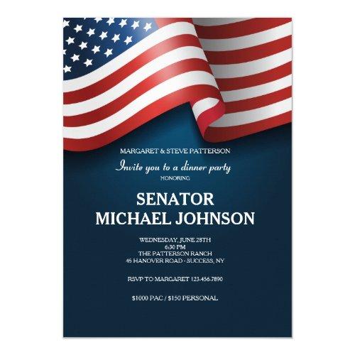 American Flag Political Fundraising Invitation