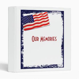 American Flag Popsicle Stick Folkart 3 Ring Binder