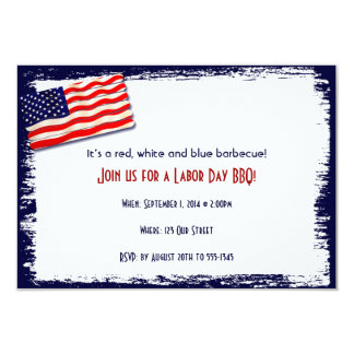 American Flag Popsicle Stick Folkart 3.5x5 Paper Invitation Card
