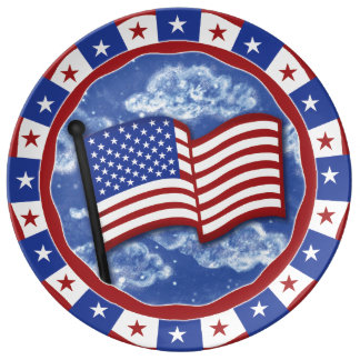 American Flag Porcelain Plate