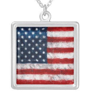 American Flag Portrait Necklace