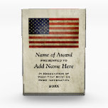 """American Flag Presented To Winner Acrylic Award<br><div class=""""desc"""">A vintage,  distressed USA flag with a grungy finish on parchment colored background. You can make changes to the text or click on the customize link to move things around.</div>"""