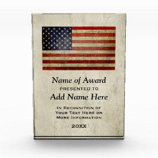 American Flag Presented To Winner Acrylic Award