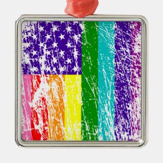 American Flag Pride Metal Ornament