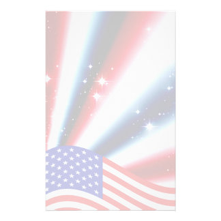 american flag pride sparkle burst personalized stationery