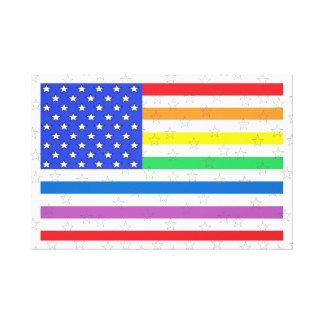 American Flag Rainbow Colors Stars & Stripes USA 2 Canvas Print